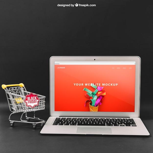 Zwarte vrijdag mockup met laptop