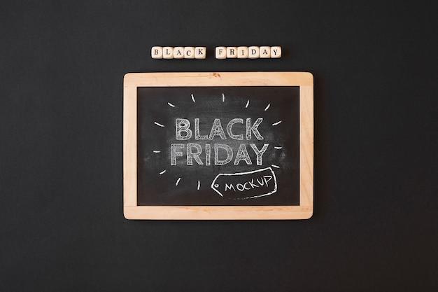 Zwarte vrijdag mockup met leisteen
