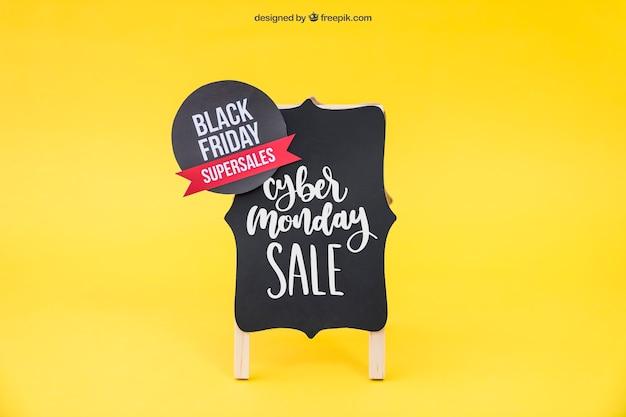 Zwarte vrijdag mockup met sticker aan boord