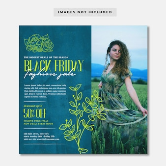Zwarte vrijdag mode korting sociale media instagram-sjabloon