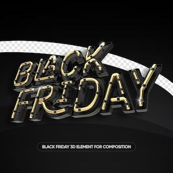 Zwarte vrijdag neon stijl 3d-rendering geïsoleerd