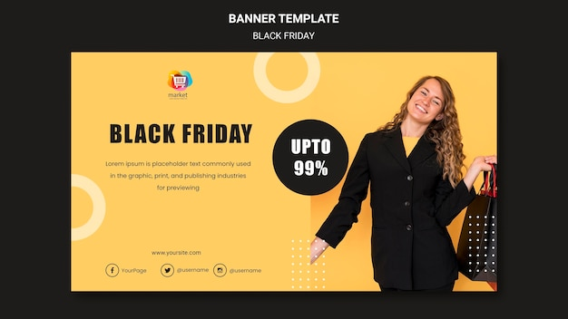 Zwarte vrijdag sjabloon banner
