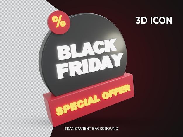 Zwarte vrijdag speciale aanbieding 3d teruggegeven transparant pictogram ontwerp zijaanzicht