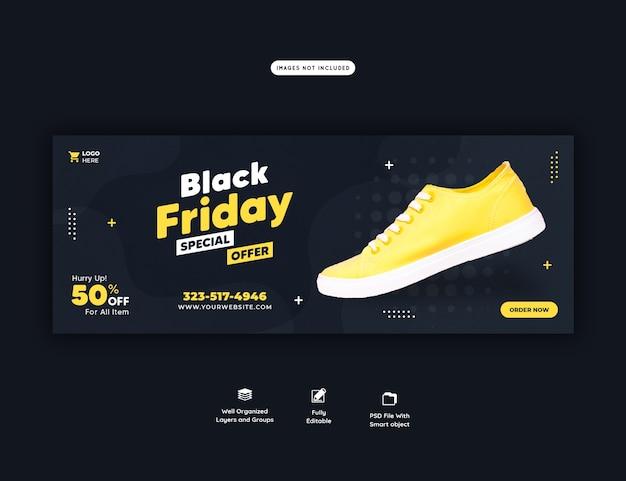 Zwarte vrijdag speciale aanbieding facebook omslagsjabloon voor spandoek