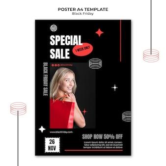 Zwarte vrijdag speciale verkoop poster sjabloon Gratis Psd