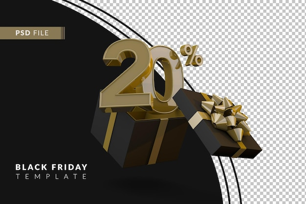 Zwarte vrijdag superverkoop met 20 procent gouden nummer en zwarte geschenkdoos en gouden lint 3d render
