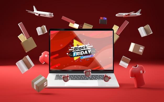 Zwarte vrijdag tech verkoop rode achtergrond