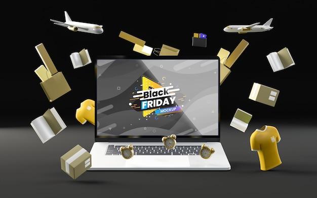 Zwarte vrijdag tech verkoop zwarte achtergrond