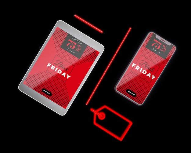 Zwarte vrijdag uitverkoop met apparaten beschikbaar