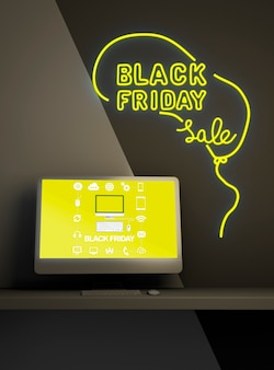 Zwarte vrijdag verkoop achtergrond met pc mock-up