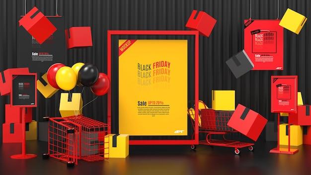 Zwarte vrijdag verkoop concept mockup