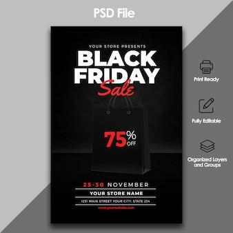 Zwarte vrijdag verkoop folder sjabloon