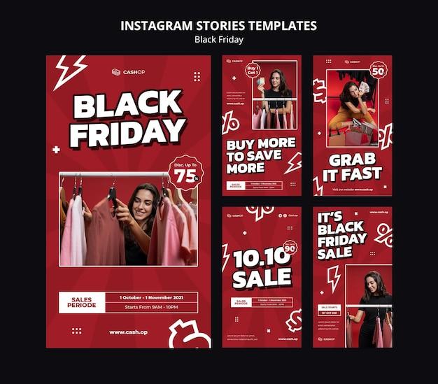 Zwarte vrijdag verkoop instagram verhalen sjabloon