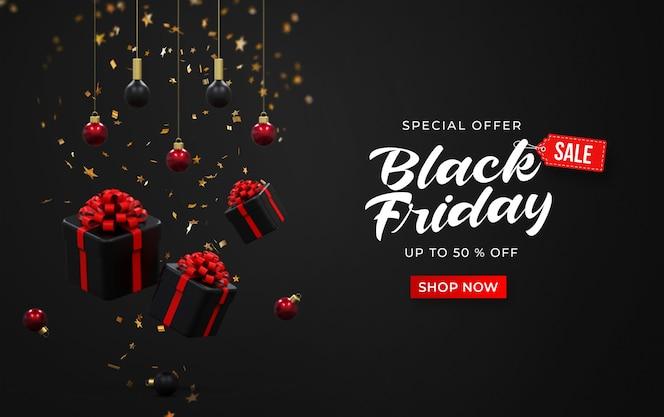 Zwarte vrijdag verkoop sjabloon voor spandoek met 3d-geschenkdozen, hangende lampen en confetti