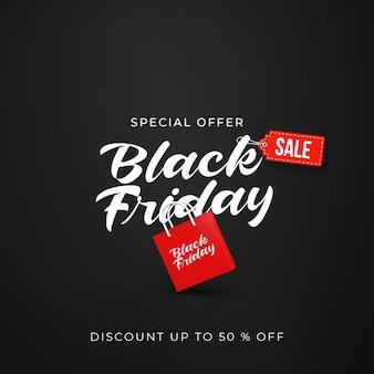 Zwarte vrijdag verkoop sjabloon voor spandoek met 3d-winkeltas