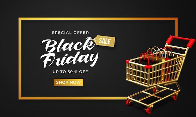 Zwarte vrijdag verkoop sjabloon voor spandoek met 3d-winkeltassen op winkelwagen