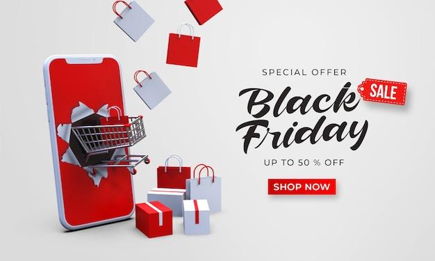 Zwarte vrijdag verkoop sjabloon voor spandoek met 3d-winkelwagen