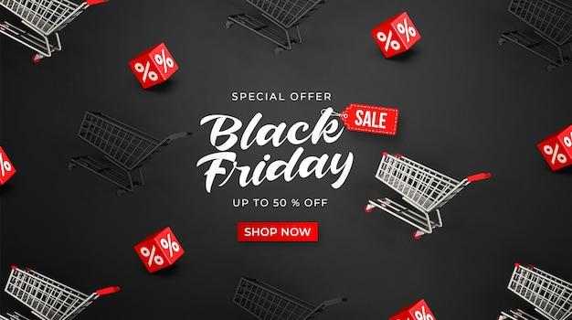 Zwarte vrijdag verkoop sjabloon voor spandoek met 3d-winkelwagentjes en kubussen met procent