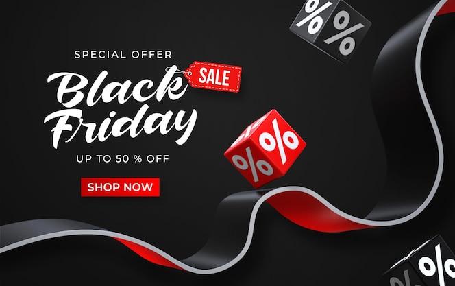 Zwarte vrijdag verkoop sjabloon voor spandoek met 3d-zwarte en rode blokjes met procenten