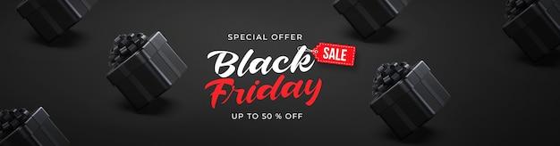 Zwarte vrijdag verkoop sjabloon voor spandoek met 3d zwarte geschenkdozen