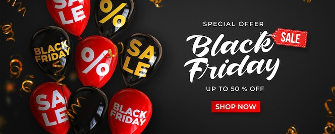 Zwarte vrijdag verkoop sjabloon voor spandoek met zwarte en rode glanzende ballonnen