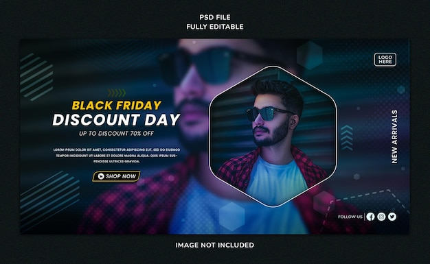 Zwarte vrijdag verkoop sociale media post en webbannersjabloon