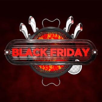 Zwarte vrijdag vierkante banner. 3d-rendering