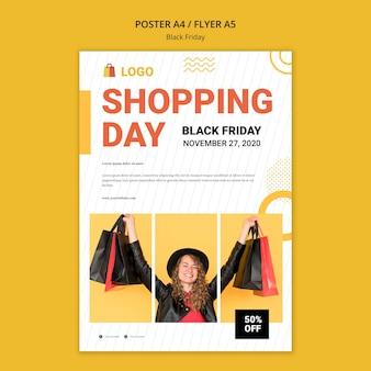 Zwarte vrijdag winkel verkoop folder sjabloon