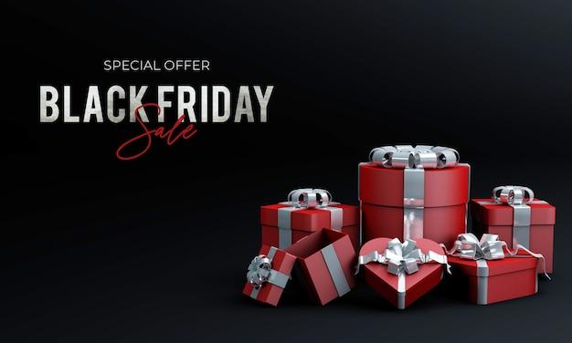 Zwarte vrijdagverkoop met geschenkdoos