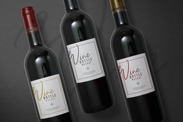 Zwarte wijnfles mockup ontwerp geïsoleerd