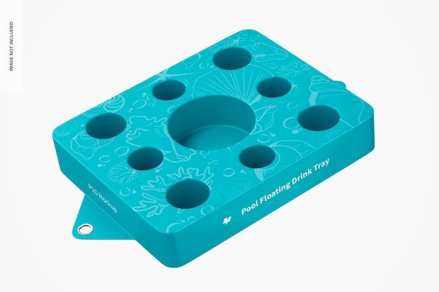Zwembad drijvende drinkbak mockup, bovenaanzicht