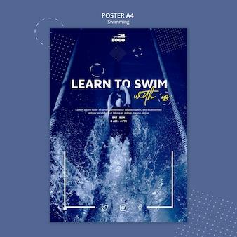 Zwemlessen poster sjabloon