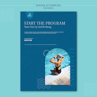 Zwemmen poster sjabloon met foto