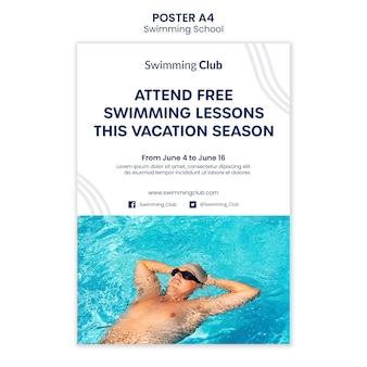 Zwemmen school poster sjabloon