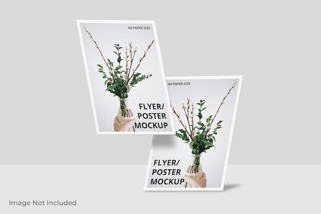 Zwevend flyer-brochure mockup-ontwerp