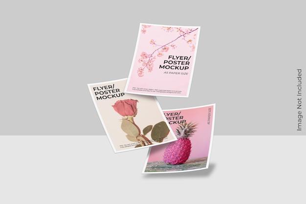 Zwevend flyer-brochuremodel met schaduwoverlay