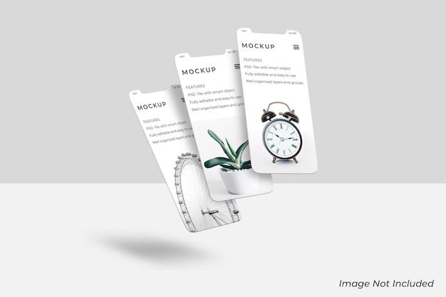 Zwevend smartphone-scherm mockup-ontwerp