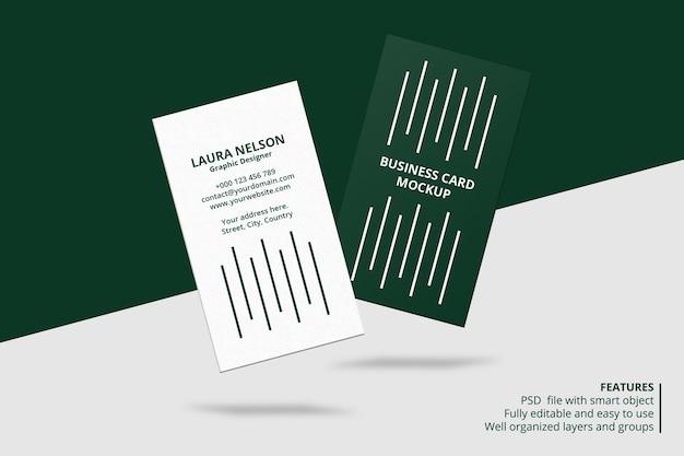 Zwevend verticaal visitekaartje mockup-ontwerp