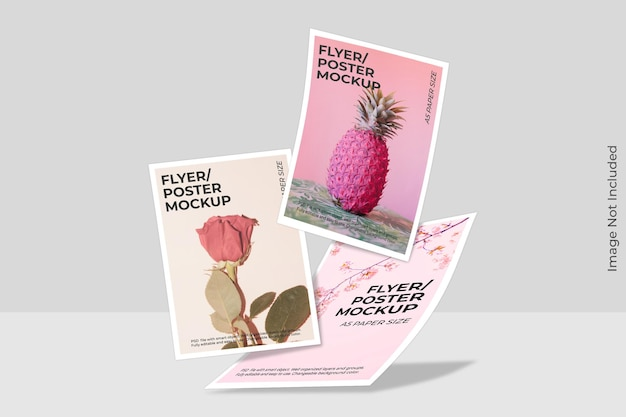 Zwevende flyer brochure mockup met schaduw overlay