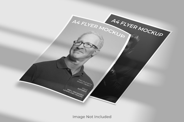 Zwevende flyer brochure mockup