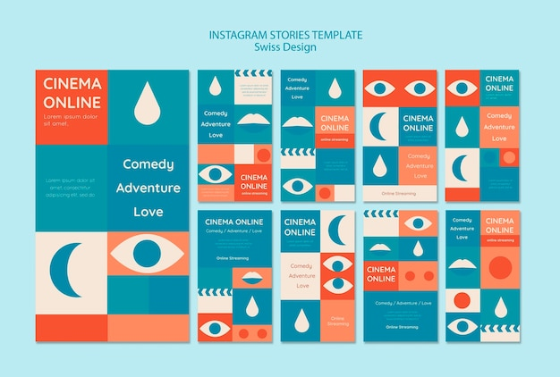 Zwitserse ontwerpset instagramverhalen