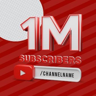 1 million d'abonnés avec le nom de la chaîne 3d