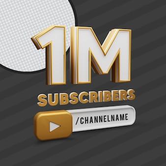 1 million d'abonnés en or texte avec le nom de la chaîne 3d