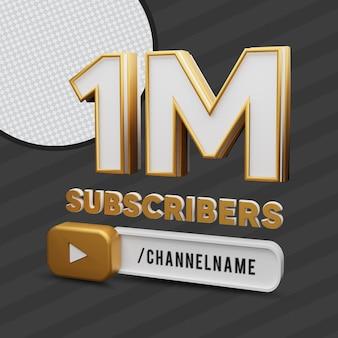 1 million d'abonnés en or texte avec rendu 3d du nom de la chaîne