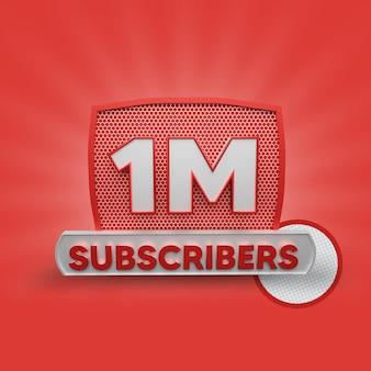 1 million d'abonnés rendu 3d