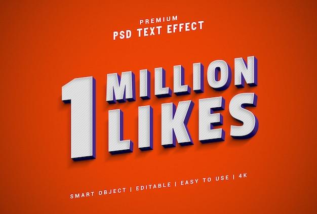 1 million de likes générateur d'effets de texte psd premium