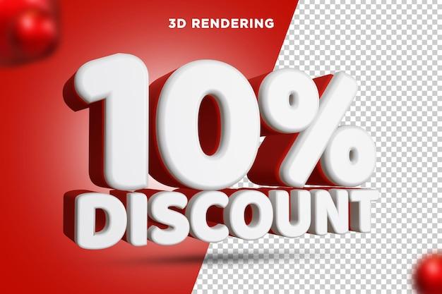 10 pour cent de réduction rendu 3d composition de texte alpha background psd