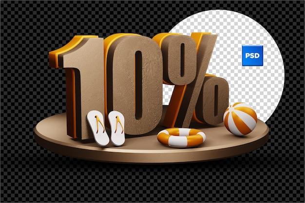 10 pour cent de réduction de vente d'été 3d badge isolé
