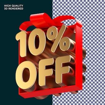 10 % de réduction sur l'emballage de texte avec un ruban rouge rendu 3d concept isolé pour la promotion