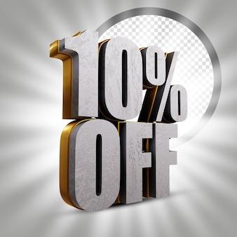 10 % de réduction sur l'illustration de rendu de texte 3d doré métallique